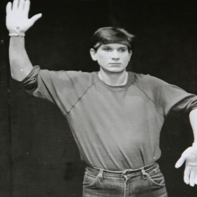 Breakdance Auftritt in der Halle Münsterland. Große Halle, kleine Künste. 1982